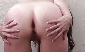 Slutty brunette is getting fucked deeply in the ass