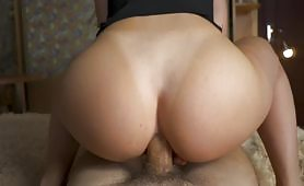 Anal creampie in a rough sex scene