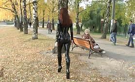 Latex slut just walk around the park