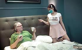 Big tits niece fucked by her grandpa with Sherill Collins and Hans - fetish sex porn