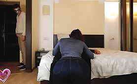 Slut spied by her boy, while she is being fucked by another man