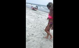 Tattoed blonde slut exposes herself at the public beach and gets fucked hard at home