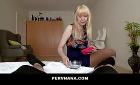 The video involves a grandma catching her grandson in the bedroom, and the video involves hot sex, blowjob, and cock riding, all of them in POV.