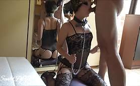 Slut gets tied up by her hands and deep throated hard with ScarletFitXX