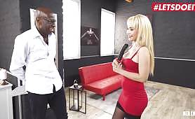 A Blonde lady has her asshole fucked by a big black cock