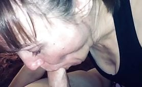 Mature slut gives blowjob and lets her stepson cum in her mouth