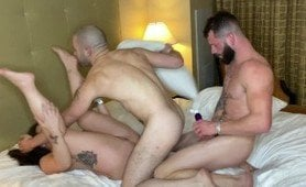 A thick white girl is fucked by two white gay guys