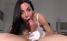 Brunette whore sucks this guy dick like she wanted to swallow it